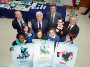 CTC worked with transition year students from all over Ireland on energy awareness in the EU funded IUSES project. Pictured here with students, from left: Colman McCarthy (CTC), Mr. Batt O'Keefe then Minister for Enterprise, Trade and Innovation, Noel Duffy and Tadhg Coakley (CTC).
